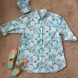Lilly Pulitzer Tunic Coverup Cotton Blue Floral